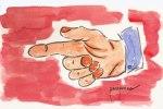 """""""El dedo de acusar"""". Ilustración de Francisco Ponce Carrasco"""